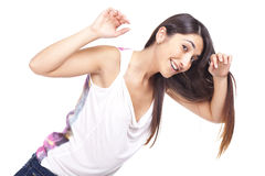 Woman looking admired and smiling Royalty Free Stock Photography