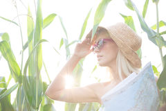 Woman looking away while holding map amidst plants on sunny day Stock Images