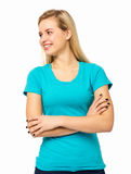 Woman Looking Away While Standing Arms Crossed Royalty Free Stock Photography