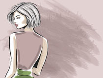 Woman looking from back sketch template Stock Images