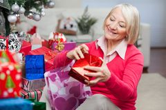 Woman Looking In Bag While Sitting By Christmas Royalty Free Stock Images