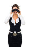 Woman looking into binocular Royalty Free Stock Images