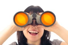 Woman Looking Through Binoculars royalty free stock photo