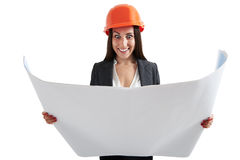 Woman looking at blueprint Stock Photos