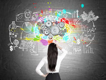 Woman looking at brain and gears on blackboard. Rear view of a black haired woman standing with her hand on the waist near a brain sketch with gears and a Royalty Free Stock Photos