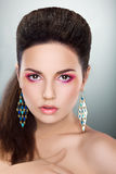 Woman Looking - Bright Make-up, Fresh Young Face Stock Image