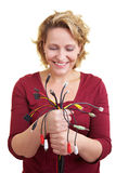 Woman looking at cables Stock Photography