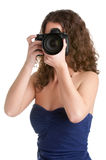 Woman Looking at a Camera Royalty Free Stock Images