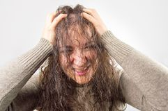 My hair is damaged stock photo