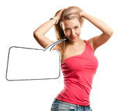 Woman Looking on Camera With Speech Bubble Royalty Free Stock Image