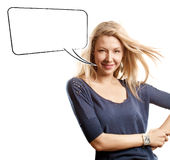 Woman Looking on Camera With Speech Bubble Stock Photo