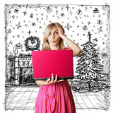 Woman Looking For Christmas Gifts Royalty Free Stock Photos