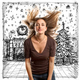Woman Looking For Christmas Gifts Stock Images