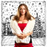 Woman Looking For Christmas Gifts Royalty Free Stock Images