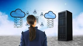 Woman looking at cloud storage. Digital composite of Caucasian woman looking at cloud data storage stock footage