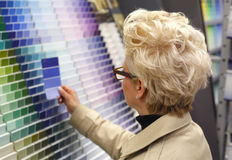 Woman looking at color swatches. Royalty Free Stock Photos