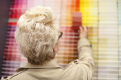 Woman looking at color swatches. Royalty Free Stock Images