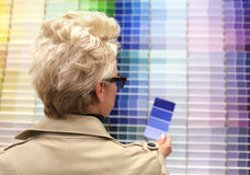 Woman looking at color swatches. Royalty Free Stock Photo