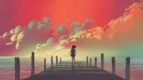 Woman looking at colorful clouds in the sky. Beautiful scenery of the woman standing alone on a wooden pier looking at colorful clouds in the sky, digital art Royalty Free Illustration