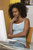 Woman Looking At Computer Monitor Stock Image