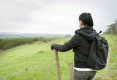 Woman looking at countryside view Royalty Free Stock Image