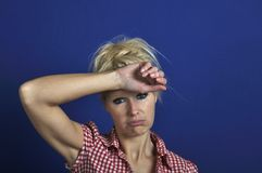 Woman looking discouraged Stock Images