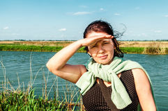 Woman looking into the distance Royalty Free Stock Photography