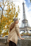 Woman looking into distance and exploring attractions in Paris Royalty Free Stock Photos