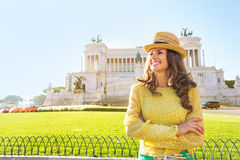 Woman looking into distance on piazza venezia Royalty Free Stock Photo