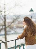Woman looking into distance in winter outdoors Stock Image