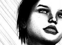 Woman dark gaze stock photography