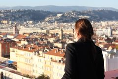 Woman looking down at the City of Nice Royalty Free Stock Photo