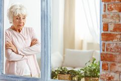 Woman looking down stock photos