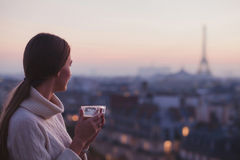 woman looking at Eiffel tower and beautiful panorama of the city stock photo