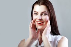 Woman looking excited Royalty Free Stock Photography
