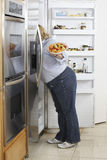 Woman Looking Into Fridge Lizenzfreie Stockbilder