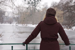 Woman looking at frozen river Royalty Free Stock Photography