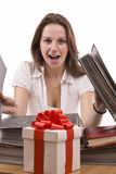 Woman looking a gift Royalty Free Stock Photo