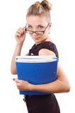 Woman looking through the glasses with papers Stock Photo