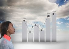 Woman looking at graph. Digital composite of Woman looking at graph Stock Photography