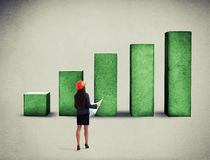 Woman looking at green diagram Stock Image