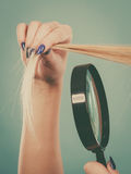 Woman looking at hair through magnifying glass Royalty Free Stock Images