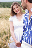 Woman Looking Her Boyfriend, Woman On Focus Royalty Free Stock Photography