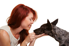 Woman looking at her dog Stock Photo