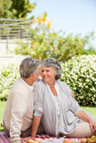 Woman looking at her husband in the garden Royalty Free Stock Photography