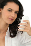Woman looking at her mobile Royalty Free Stock Photos