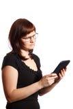 Woman looking at his computer Stock Image
