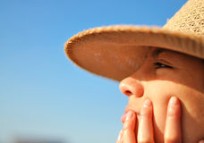 Woman looking at the horizon. In the beach Royalty Free Stock Image