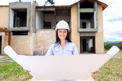 Woman looking at a house project Stock Photography