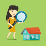 Woman looking for house vector illustration. Stock Photography